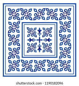 tile pattern, Porcelain decorative background design, blue and white floral decor vector illustration, Big ceramic element in center is frame, beautiful ceiling backdrop damask and baroque style