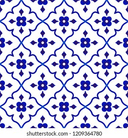 tile pattern, Porcelain flower background design, cute ceramic floral blue and white seamless decor vector illustration