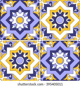 Tile pattern vector seamless with flowers motifs. Azulejo, portuguese tiles, spanish, moroccan, turkish or arabic tiles design. Tiled print for wrapping, background or ceramic.