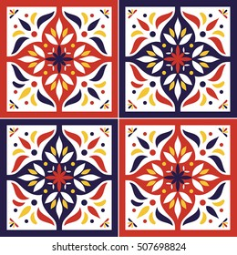 Tile pattern vector seamless with flowers motifs. Azulejo portuguese tiles, spanish, moroccan, italian majolica or arabic tiles design. Tiled print for wrapping, background or ceramic.