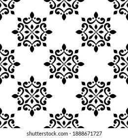 tile pattern, vintage damask wallpaper, seamless floral background, back and white texture for design floor, wall, textile, paper, tiled, ceramic, portugal ornament, Moraccan mosaic, Spanish tableware