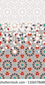 Tile repeating vector border. Geometric halftone pattern with colorful arabesque disintegration in traditional Turkish colors.