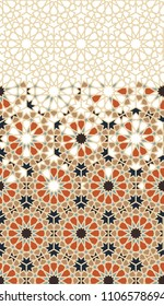 Tile repeating vector border. Geometric halftone pattern with colorful arabesque disintegration in orange, beige and dark blue colors