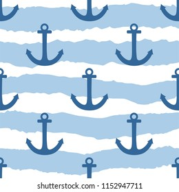 Tile sailor vector pattern with anchor on navy blue and white stripes background