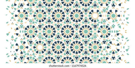 Tile seamless vector pattern. Geometric halftone pattern with color arabesque disintegration or breaking