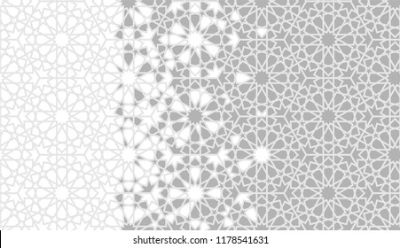 Tile seamless vector pattern. Geometric halftone background with grey arabesque disintegration or breaking