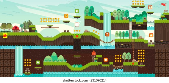 Tile set Platform for Game, Seamless vector pattern for games design, illustrator vector flat style