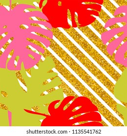 Tile tropical vector pattern with exotic leaves on golden and white stripes background