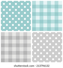 Tile vector baby blue and grey pattern set with polka dots and checkered plaid