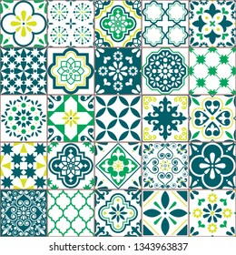 Tile vector pattern - Azulejo Lisbon retro old tiles mosaic, Portuguese seamless green design. Ornamental textile background inspired by Spanish and Portuguese traditional tiles with flowers