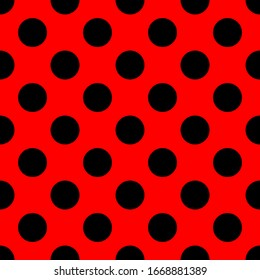 Tile vector pattern with big black polka dots on red background for decoration wallpaper
