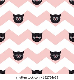 Tile vector pattern with black cats on chevron zig zag background