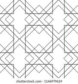 Tile vector pattern with black ornament on white background