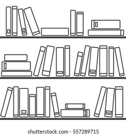 Tile vector pattern with  books on the shelf on white background