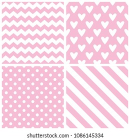 Tile vector pattern with chevron zig zag, polka dots, hearts and stripe background