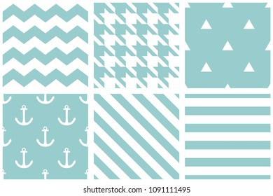 Tile vector pattern with chevron zig zag, hounds tooth, triangle, polka dots and stripe background