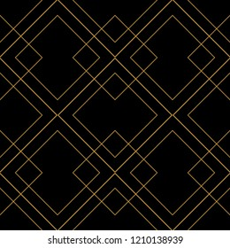 Tile vector pattern with golden ornament on black background