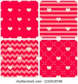 Tile vector pattern with hearts on pink and red background