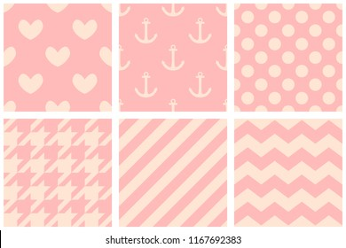 Tile vector pattern with hearts, polka dots, zig zag and sailor on pastel pink background