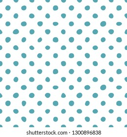 Tile vector pattern with pastel mint green hand drawn polka dots on white background