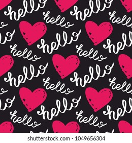 Tile vector pattern with pink hearts and hello text on black background
