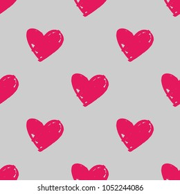 Tile vector pattern with pink hearts on pastel grey background