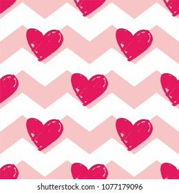 Tile vector pattern with pink hearts on zig zag chevron background