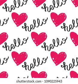 Tile vector pattern with pink hearts and hello text on white background