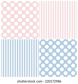 Tile vector pattern set with big white polka dots and strips on pink and blue background