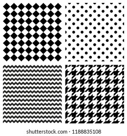Tile vector pattern set with black and white polka dots, zig zag, hounds tooth and stripes  background for seamless decoration wallpaper