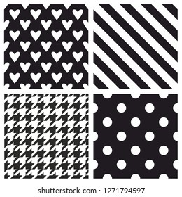 Tile vector pattern set with black and white polka dots, hounds tooth, hearts and stripes background