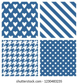 Tile vector pattern set with blue and white polka dots, hounds tooth, hearts and stripes background