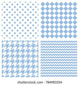 Tile vector pattern set or blue and white wallpaper background