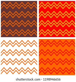 Tile vector pattern set with brown, orange, red and white zig zag