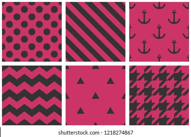 Tile vector pattern set with chevron, zig zag, polka dots, sailor, hearts and stripe pink and black background