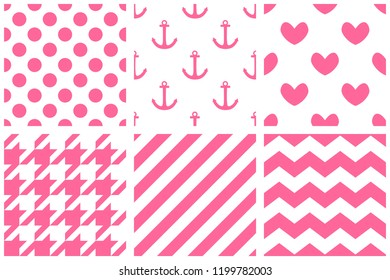 Tile vector pattern set with pink print on white background