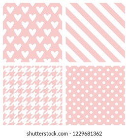 Tile vector pattern set with pink and white polka dots, hounds tooth, hearts and stripes background