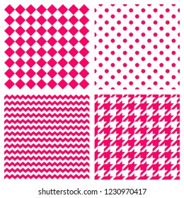 Tile vector pattern set with pink and white polka dots, zig zag, hounds tooth and stripes background for seamless decoration wallpaper