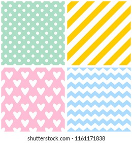 Tile vector pattern set with seamless pastel backgrounds