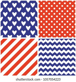 Tile vector pattern set with white polka dots and strips on red and blue background