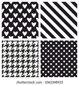 Tile vector pattern set with white polka dots and strips on black background
