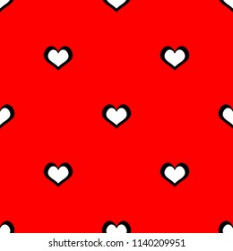 Tile vector pattern with white hearts on red background