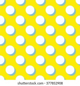 Tile vector pattern with white polka dots and mint green shadow on yellow background