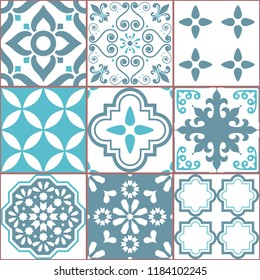 Tile vector seamless Azlejos pattern, Spanish or Portuguese mosaic in turquoise and gray, abstract and floral designs. Ornamental textile background inspired traditional tiles from Spain and Portugal