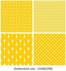 Tile vector set with white pattern on yellow background