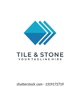 Tile wall logo icon for carpet, floor, ceramic industry. hexagon square abstract symbol