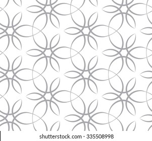 Tileable recurring sinuous warp op twisty ripply shape light white color with dark grey squiggly curvy ribbon with intricate nodes. Retro art style billowy loop form meander template fond surface