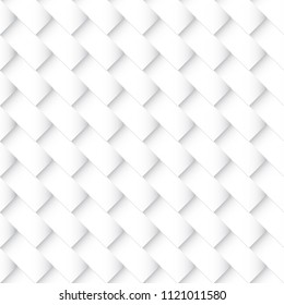 Tileable trendy staggered 3d quadrangle shape spliced form template. Light silver color modular mesh in retro style. Creative recurring concave interwoven criss cross mat fond design
