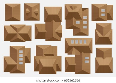 Tiled roof of houses. Top view. Cityscape map or plan design collection.