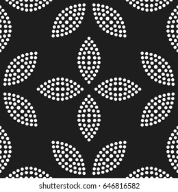 Tiled seamless geometric pattern of dotted flowers and petals. Floral trellis print. Abstract black and white mosaic background. Vector illustration.